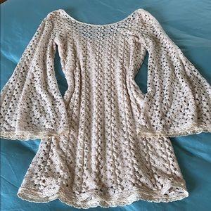 Free People cream lace mini dress w flared cuffs